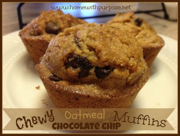 Chewy Oatmeal Chocolate Chip Muffins - Home With Purpose