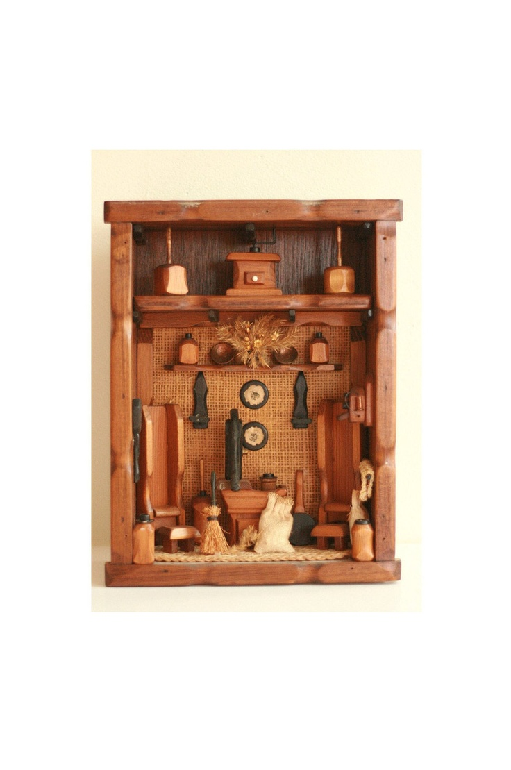 Wall Art Shadow Box : Shadow box vintage wall art wood folk style