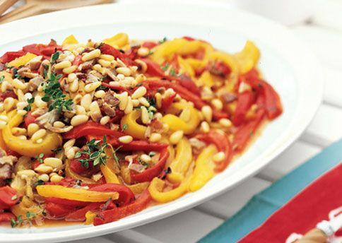 Roasted Red Pepper Salad with Bacon Dressing and Pine Nuts | Recipe