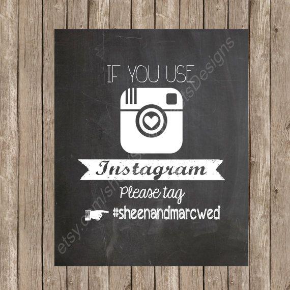 Chalkboard wedding instagram sign printable for Printable chalkboard signs