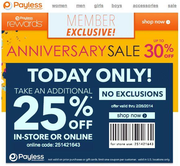 25 off payless coupon printable