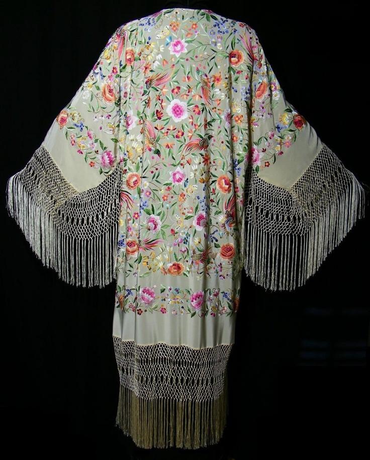 Embroidered Flamenco Silk Opera Coat Kimono Fringe Jacket Floral Vannila Multi.