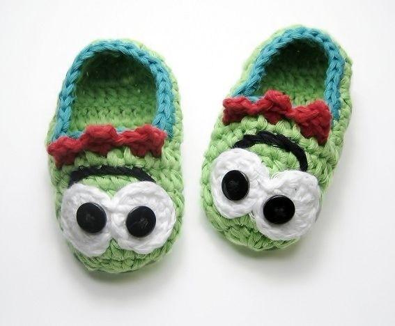 Free Crochet Pattern For Monster Slippers : Green Monster - Slippers- Baby & Childrens Crochet ...