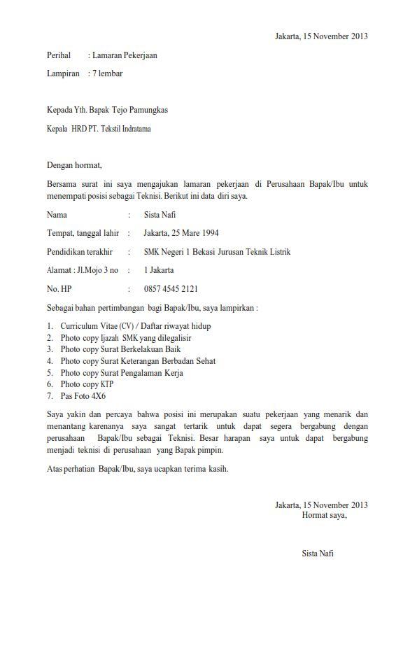 Job application letter contoh thecheapjerseys Images