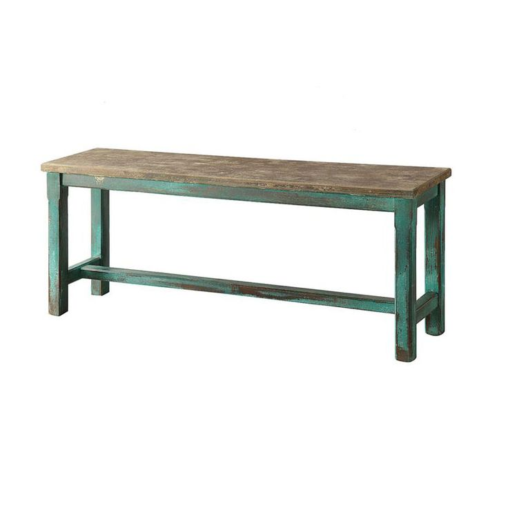 Turquoise Distressed Bench