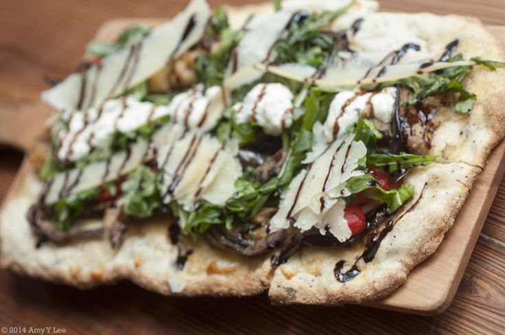 """Daphne"""". Flat Bread Pizza. Oven Roasted Eggplant & Red Peppers ..."""