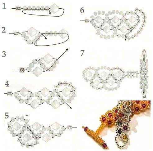 Как сделать 2 ряд браслета из бисера