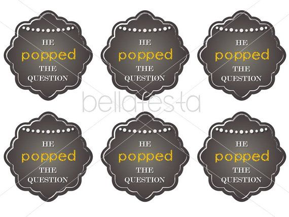 He Popped the Question Printable Tag for Bridal Shower or Wedding ...