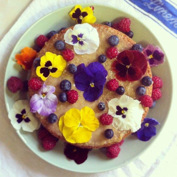EatScandi almond torte with lemon drizzle, edible flowers and berries ...
