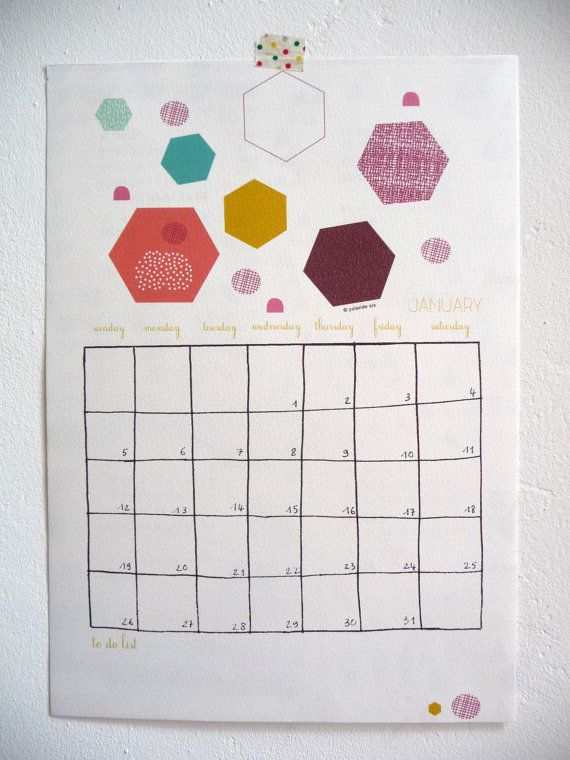 CALENDAR 2014/ planner - size A4 - PDF -  geometric forms - 12 sheets