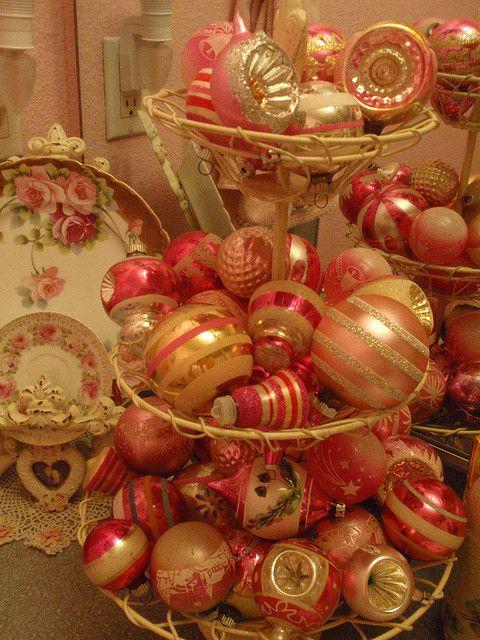 Vintage pink christmas ornaments