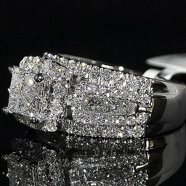 wedding ring princess cut diamond 3 in 1 style cathedral side 10mm big