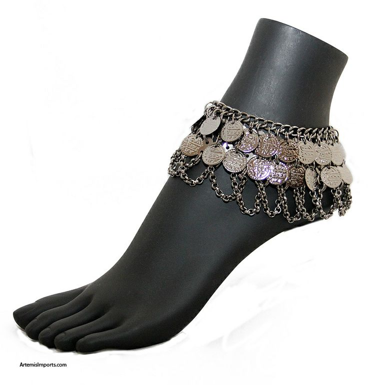 Artemis Imports - Anklet with Two Rows of Coins and Chain Swags