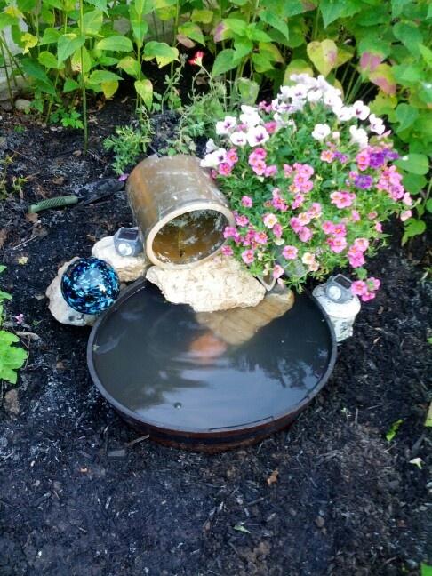 Today 39 S Diy Garden Fountain Water Fountain Pinterest