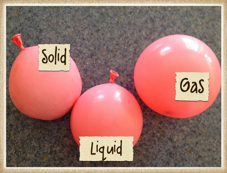 Solid/Liquid/Gas experiment with balloons: one with air, one with water, one with ice.