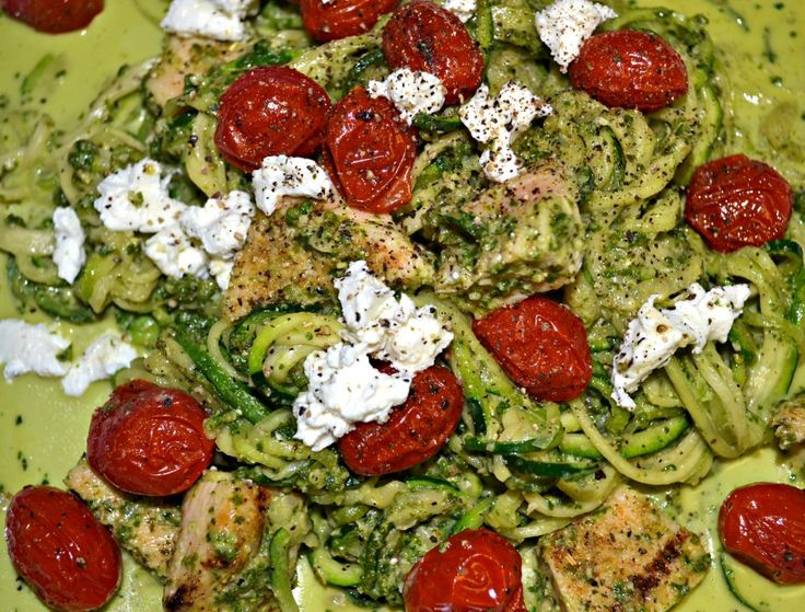 Basil Pesto and Goat Cheese Pasta with Grilled Chicken and Roasted ...