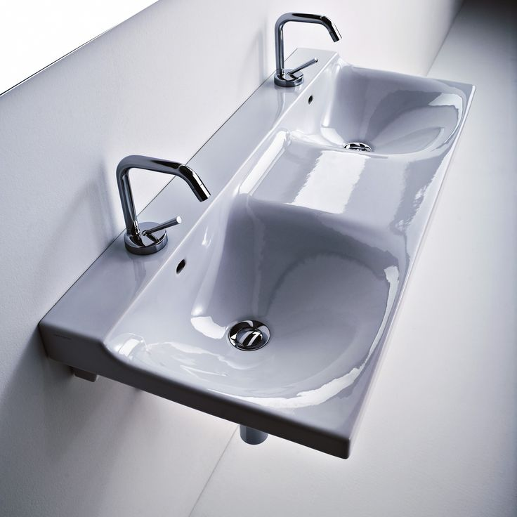 Double Wide Bathroom Sink : Buddy Ceramic Wall Mounted Double Bathroom Sink 39.4