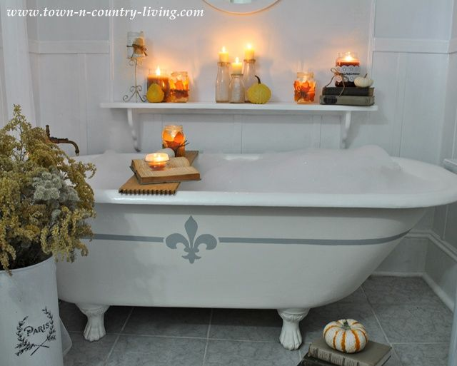 Cozy fall decorating with candles for Fall bathroom sets