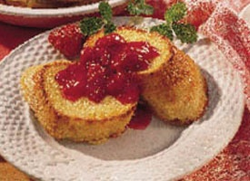 Baked French Toast with Strawberry-Rhubarb Sauce | Recipe