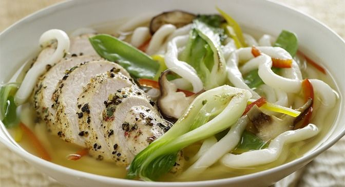 Peppercorn Mélange Chicken and Udon Noodles in Lemon Grass-Sake Broth ...