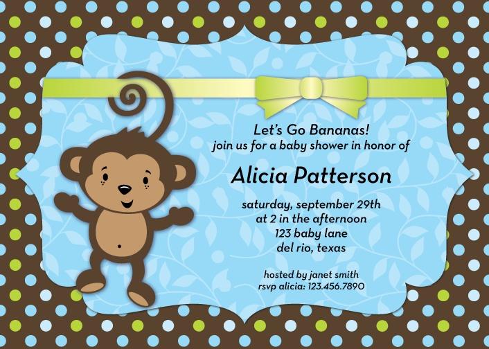 monkey theme baby shower invitation monkey baby shower pinterest