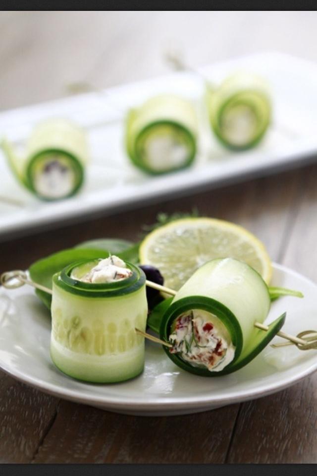 Cucumber feta rolls   Yummmmmm   Pinterest