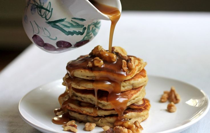 Banana Nut Pancakes with Butterscotch Syrup
