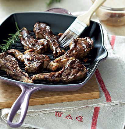 Glazed seared lamb chops with whipped Parmesan potatoes