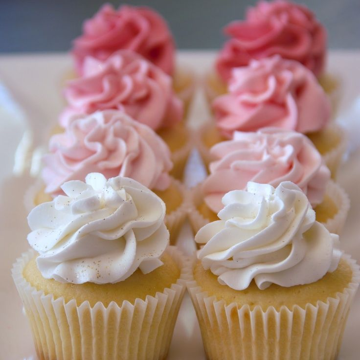 Angel Food Cupcakes   pink ombre wedding   Pinterest