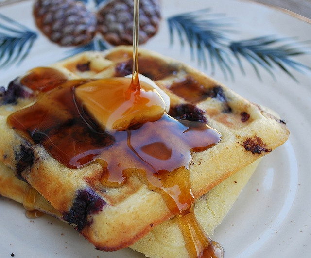 Blueberry Sour Cream Waffles | Food-Breakfast | Pinterest
