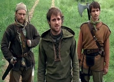 (From left to right) Much, Robin Hood, and Will Scarlet from the BBC Robin Hood.