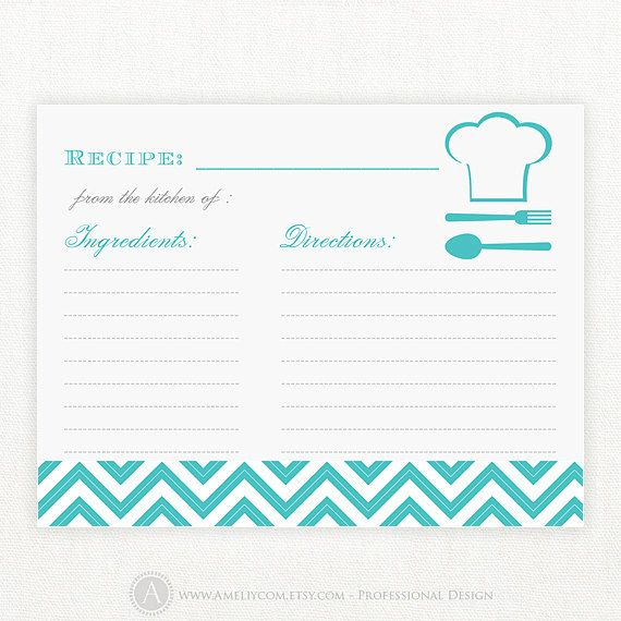 Recipe cards printable blank 4x6 turquoise blue chevron bridal showe