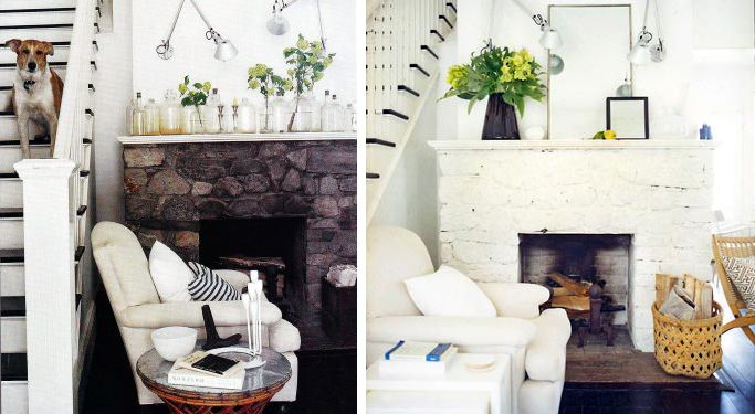 before and after painted stone fireplace in home of dara caponigro fireplace pinterest. Black Bedroom Furniture Sets. Home Design Ideas