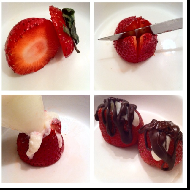 Cream cheese stuffed strawberries drizzled with dark chocolate (cream ...