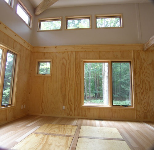 Plywood walls cabin pinterest for Plywood wall sheathing