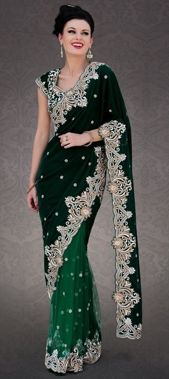 109057, Party Wear Sarees, Embroidered Sarees, Net, Velvet, Machine Embroidery, Stone, Bugle Beads, Black and Grey, Green Color Family
