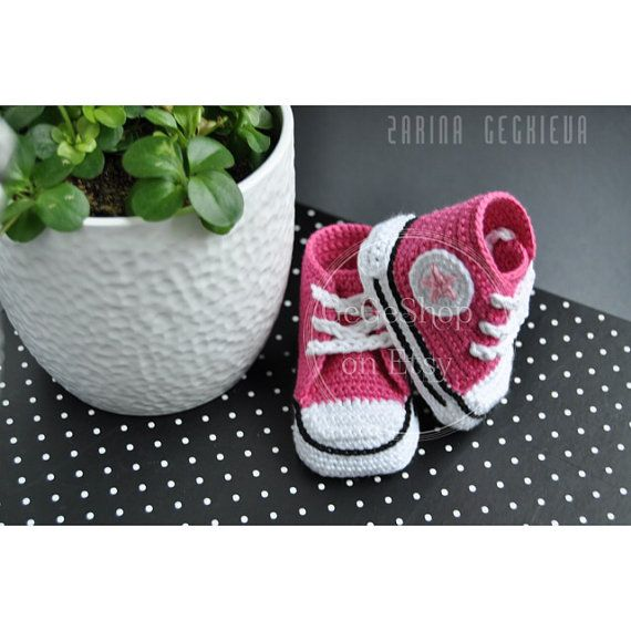 Crochet Nike Shoes : Crochet baby shoes - unique booties - baby girl - pink - crochet conv ...