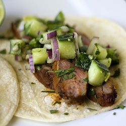 Healthy and flavorful Chili-Rubbed Steak Tacos with Cucumber-Avocado ...