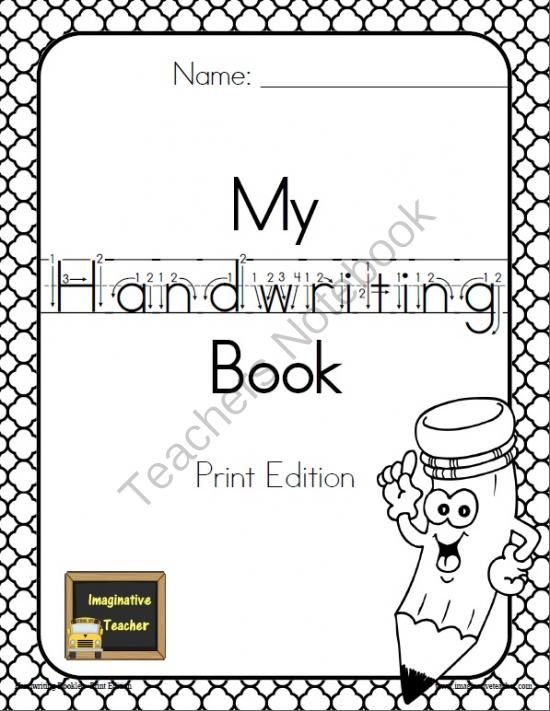 Printable Handwriting Book Cover ~ Pin by justee erica on kindergarten pinterest