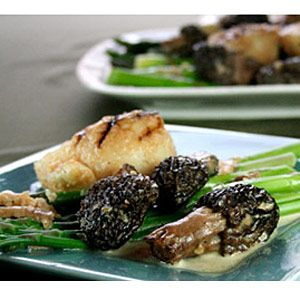 Morels with Scallops and Asparagus | Recipe