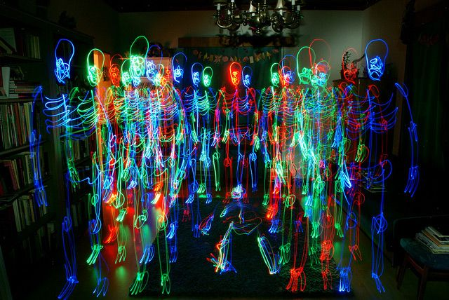 I'm really enjoying the whimsical nature of these light paintings by Helsinki-based photographer Janne Parviainen who has been drawing skeletons and other kinds of light figures in camera for over four years.