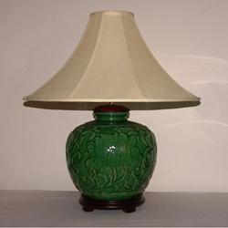 Indoor 1 light green ceramic table lamp