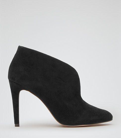 Womens Black Open Front Shoe Boots - Reiss Lola