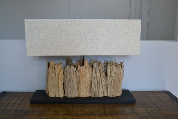 large wood table lamp made from tree branches with beige fabric shade. Black Bedroom Furniture Sets. Home Design Ideas