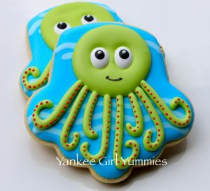 Sweet Octopus- using an upside down cupcake shaped cookie cutter. :)