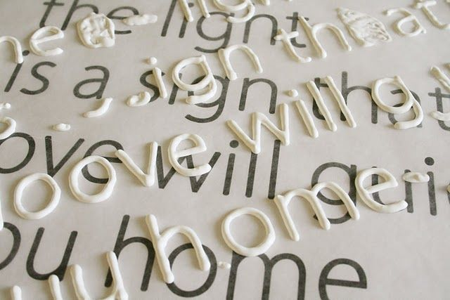 Print out the font you want and place wax paper over it. Trace letters with puffy paint, let dry, then use mod podge to secure letters to canvas, etc. Brilliant.