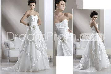 Awesome a line strapless floor length chapel tiered wedding dresses