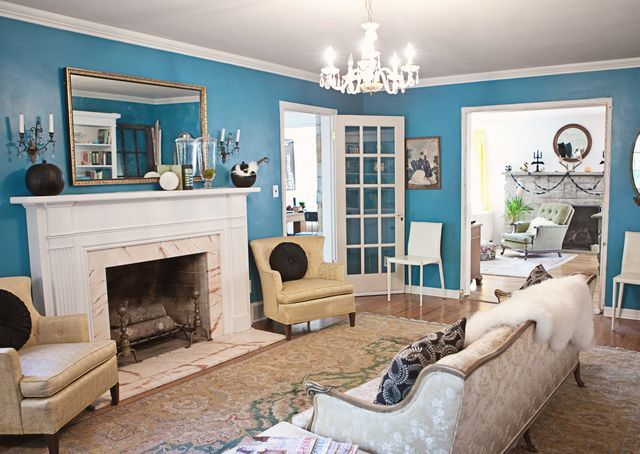 Great Use Of Color Living Room Pinterest