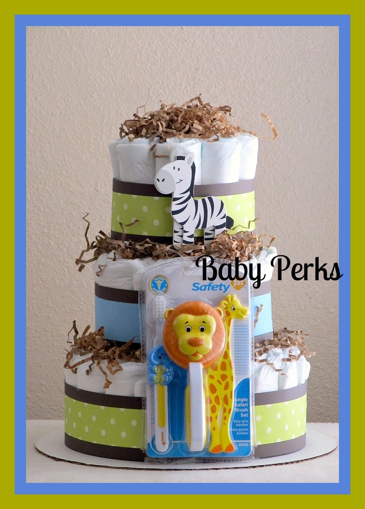 Jungle Diaper Cake. $45.00, via Etsy.