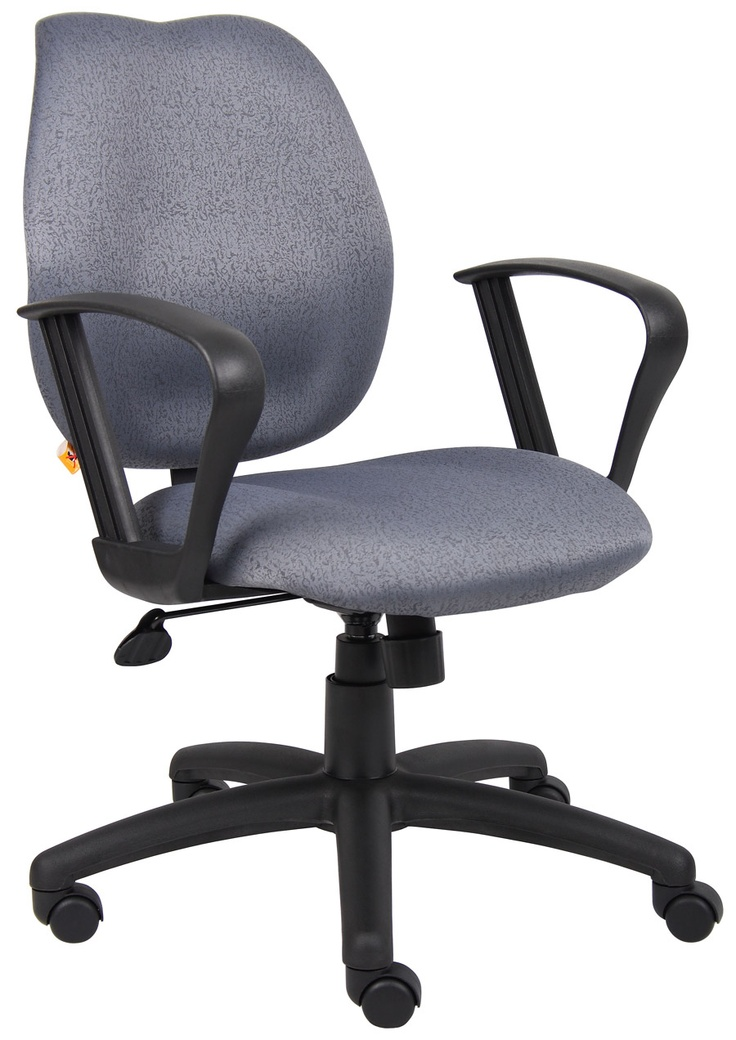 This Is Gray Mid Back Upholstered Fabric Office Task Chair With Loop